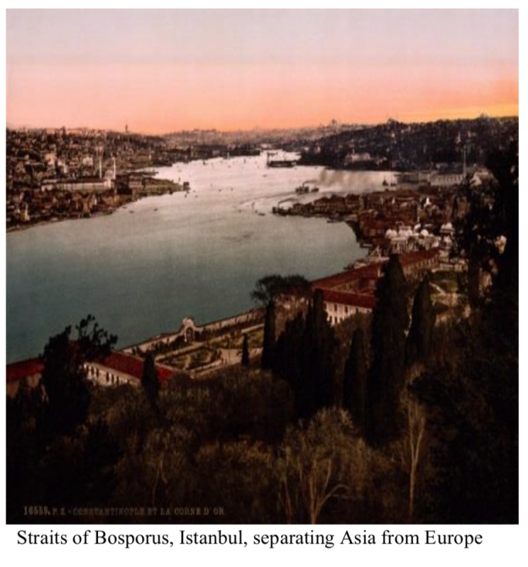 Straits of Bosporus, Istanbul, separating Asia from Europe.png